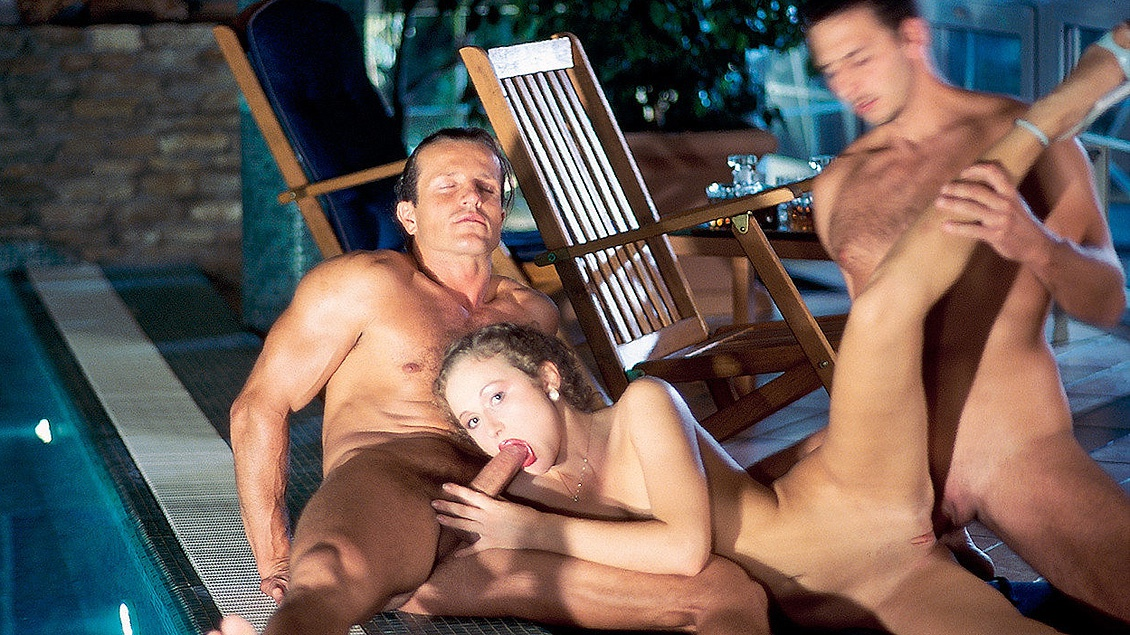 18 Year Old Polina Enjoys Two Men outside by the Pool