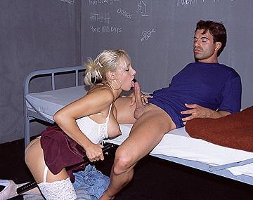 Private  porn video: Blonde Jail Guard Britnee Sucks Nightstick before Prisoners Dick