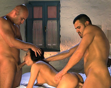Private HD porn video: Two Guys Throw a Nurse on Their Bed and Fuck Her for a Finger Dick DP