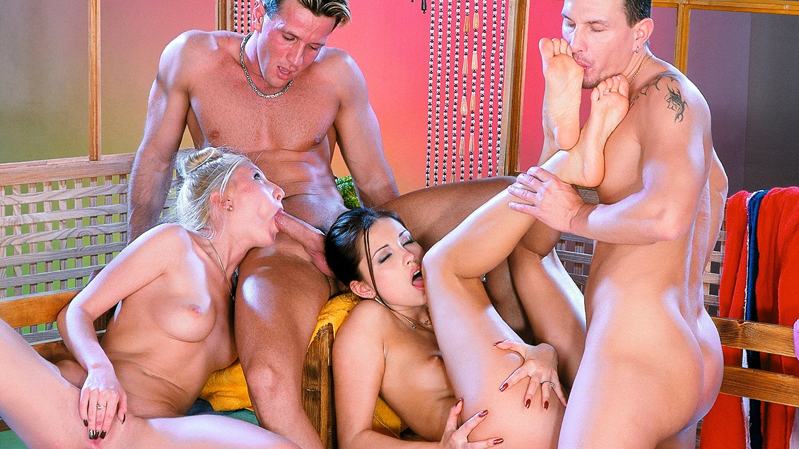 Two Couples At The Sauna Turn Their Attention To Having Sex