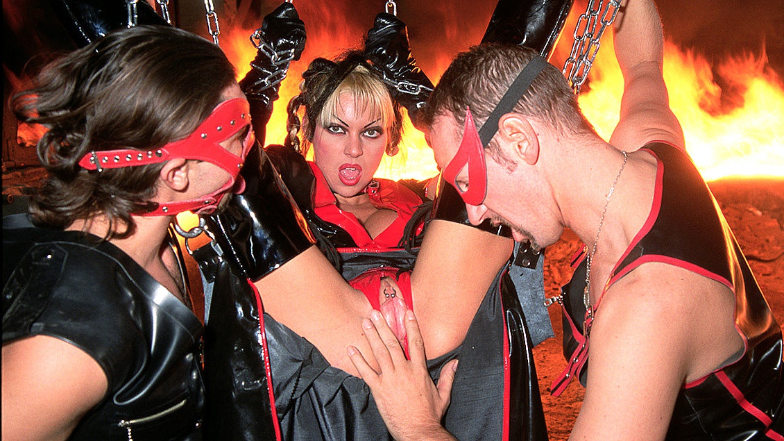 Monique Covet Is One of 3 Ladies Who Use Men for Sex in This BDSM Clip