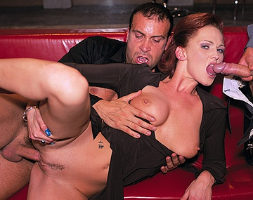 Private  porn video: Sultry Redhead Donna Marie Works a Meat Pole While Others Watch