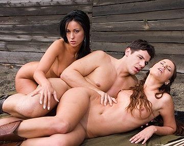 Private  porn video: Claudia Rossi and Simonne Style Outdoor FFM Threeway with Masturbation