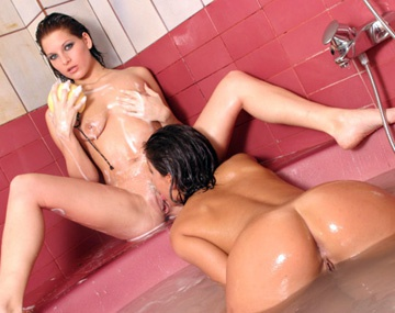 Private  porn video: Teens Petra Short and Silvia Lancome in Shower Sucking Dildo in Pussy