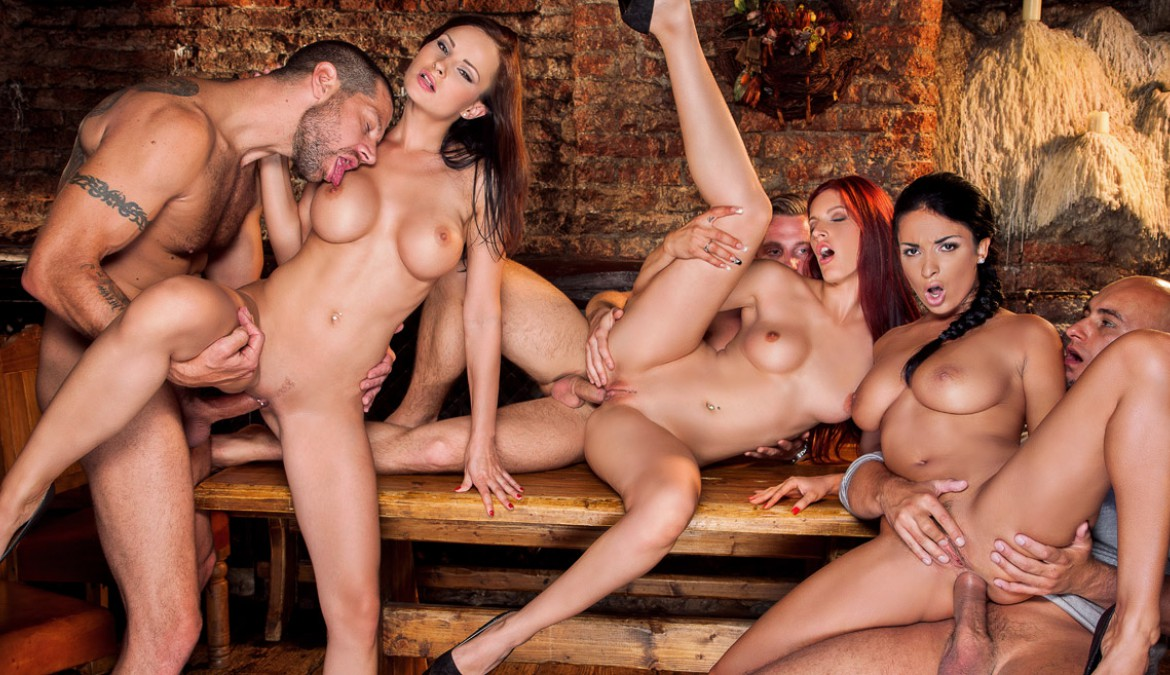 Pornstar Trio In Group Sex Scene