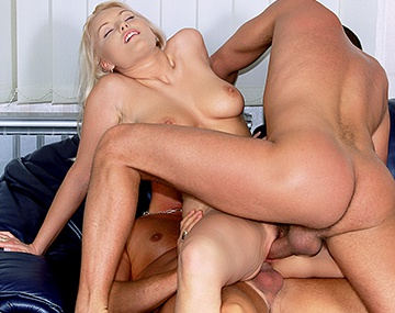 Private  porn video: Blonde Barbie Babe Is DP'd by Two Fat Cocks
