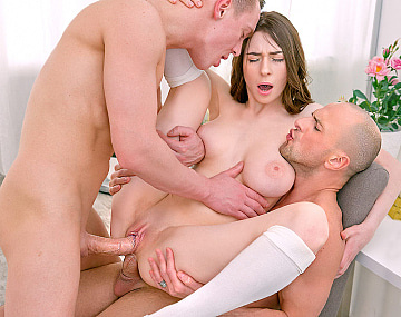 Private HD porn video: Clany, with big natural tits debuts with DP